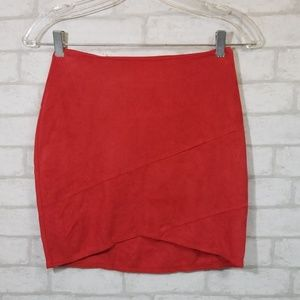 Misguided faux suede wrap mini skirt red 0